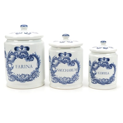 Delft Flour, Sugar and Coffee Ceramic Canisters