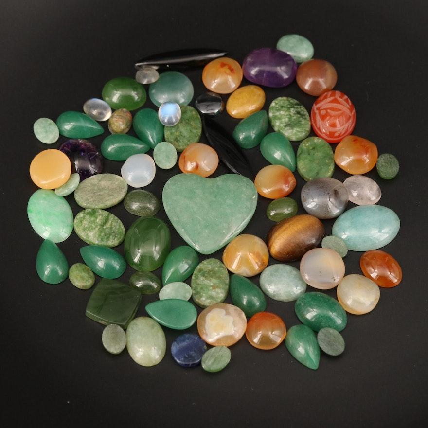 Loose Gemstones Including Jadeite, Amethyst and Black Onyx
