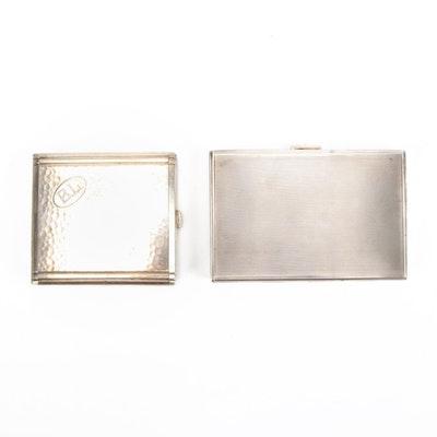 850 Silver Cigarette Case and Kraft Alpacca Monogrammed Silver Tone Case