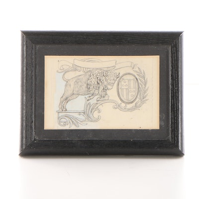Graphite Illustration of Buffalo and Coat of Arms