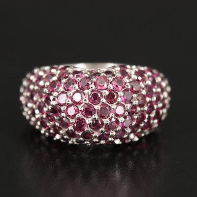Sterling Pavé Garnet Domed Ring