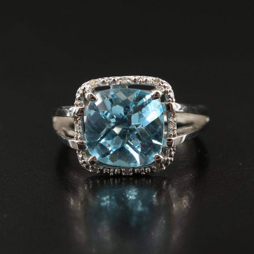 10K Sky Blue Topaz and Diamond Ring with Split Shoulders