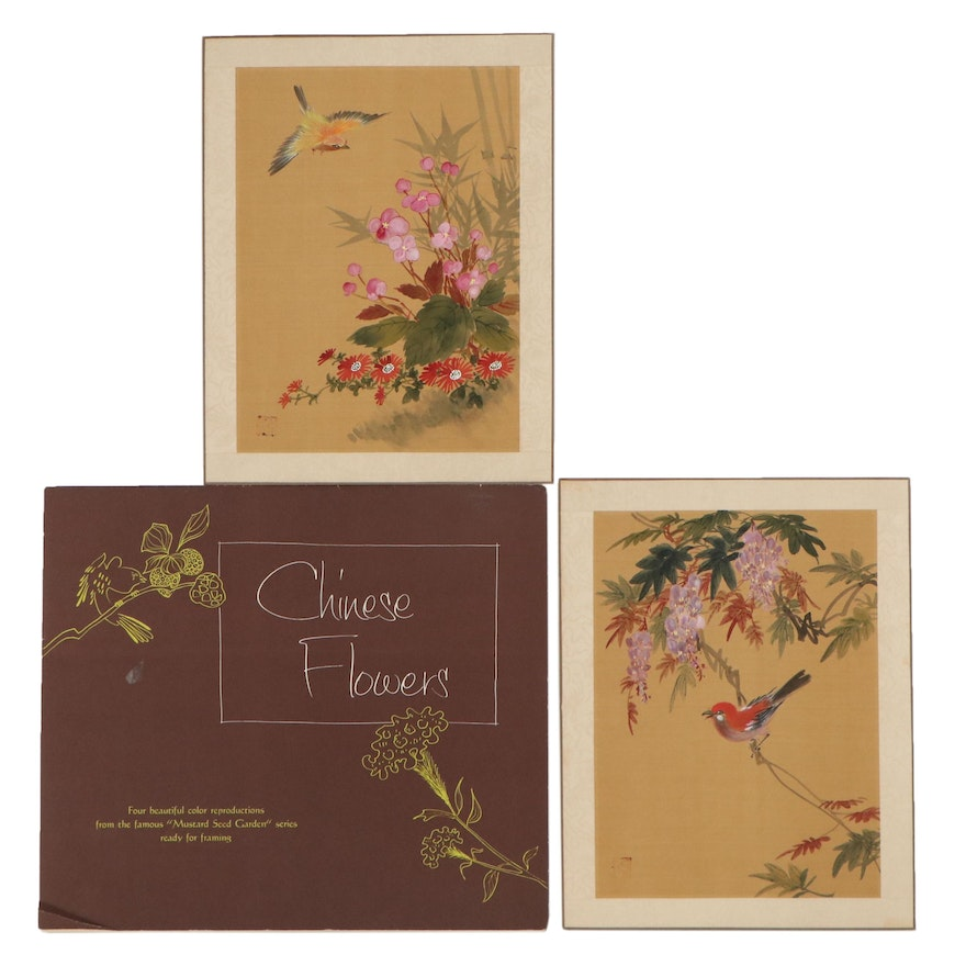 Giclées and Gouache Paintings of Chinese Flowers, Mid-20th Century