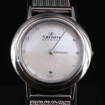 Grenen Denmark Mother of Pearl Dial Stainless Steel Wristwatch