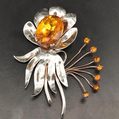 Vintage Sterling Silver Glass Flower Brooch