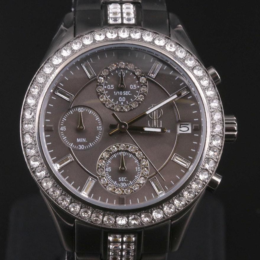 JLo Jennifer Lopez Crystal Chronograph Stainless Steel Wristwatch