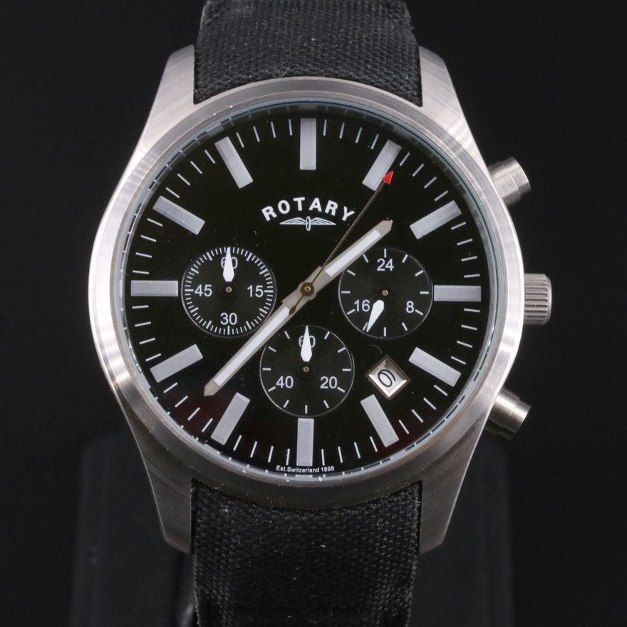 Rotary Military Chronograph Stainless Steel Quartz Wristwatch