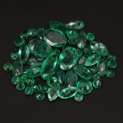 Loose 5.90 CTW Mixed Faceted Emeralds