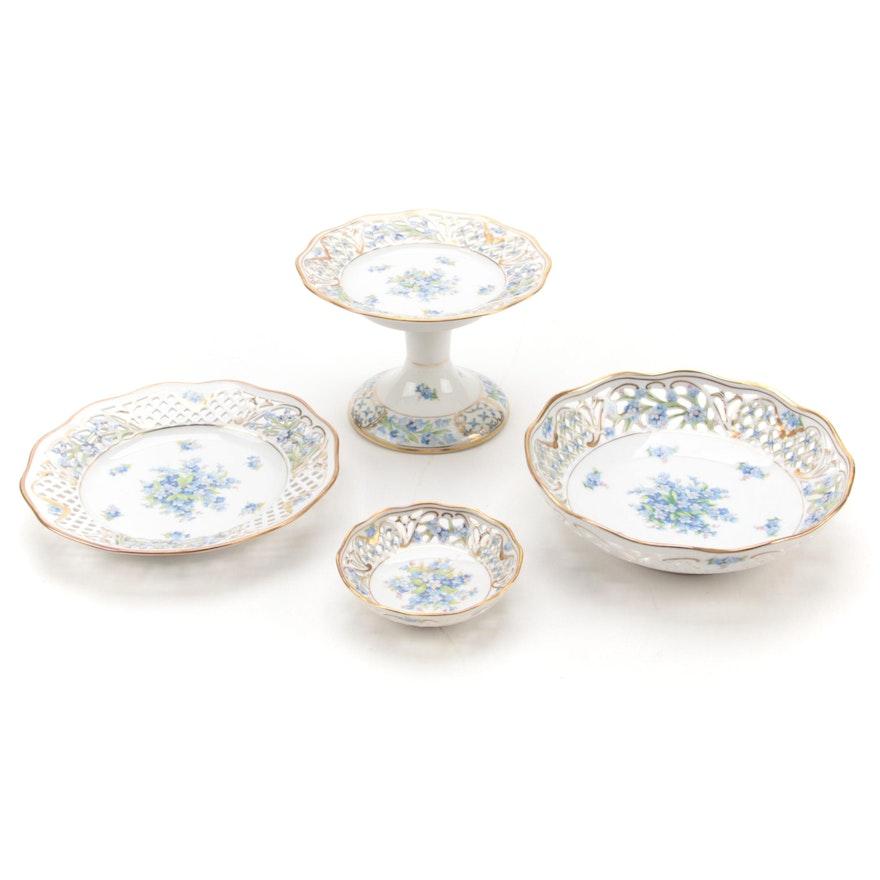 "Schumann Bavaria ""Forget Me Not"" Pierced Porcelain Serveware, Mid-20th Century"