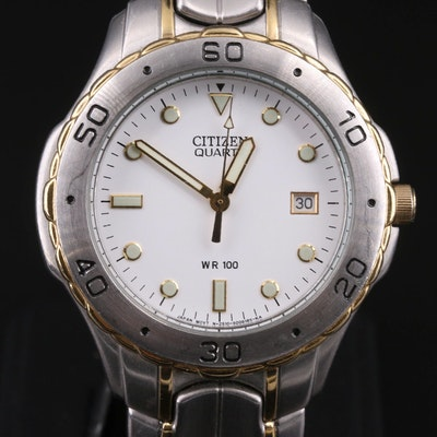 Two Tone Citizen Quartz with Date Wristwatch