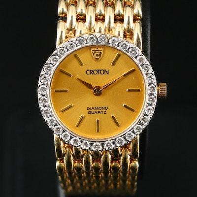 14K Croton Diamond Wristwatch