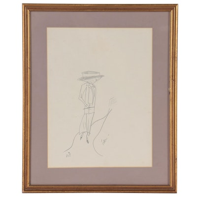 Abstract Figural Graphite Drawing, Late 20th Century