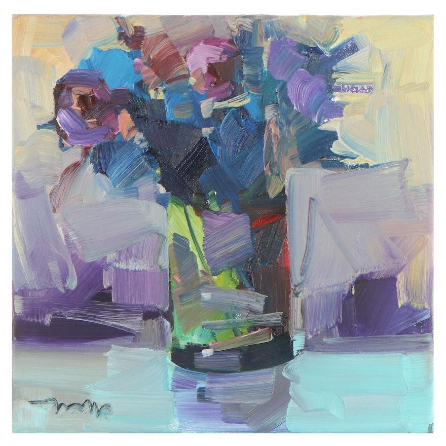 "Jose Trujillo Oil Painting ""Elegant Arrangement,"" 2021"