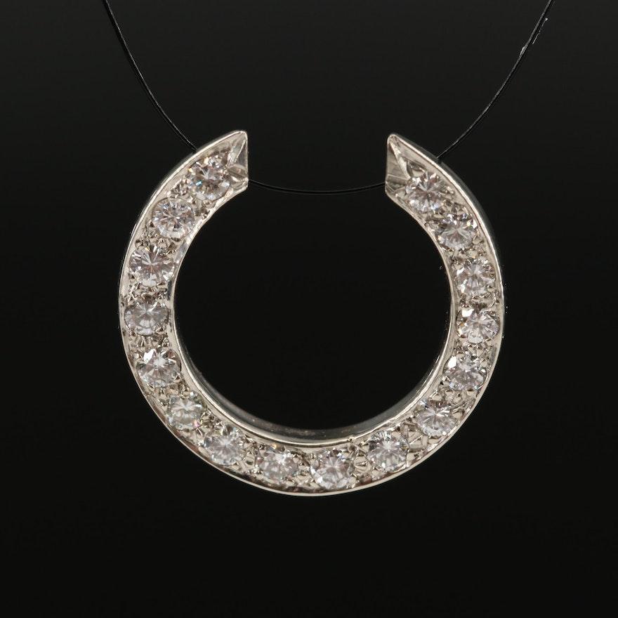 14K Diamond Semicircle Pendant