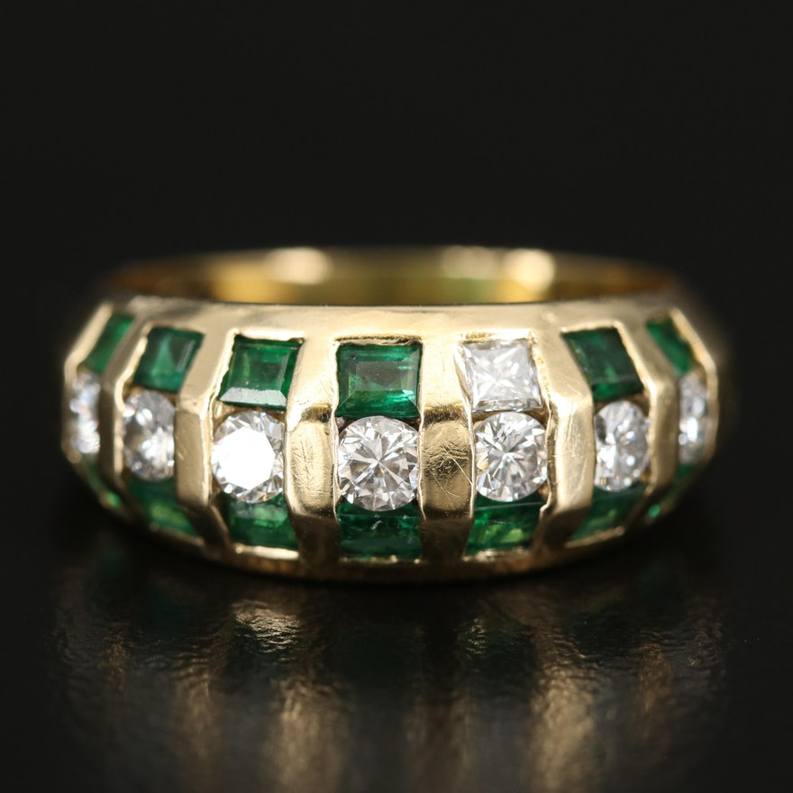 18K Diamond and Emerald Band