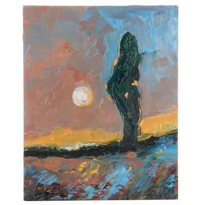 """Claire McElveen Oil Painting """"Cypress Moon"""""""