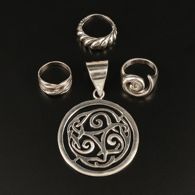 Sterling Rings and Pendant Featuring Robert Lee Morris and Silpada