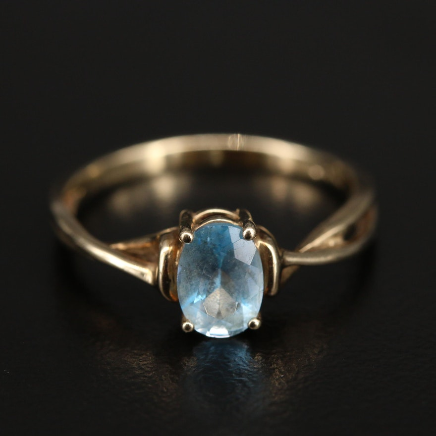 10K Sky Blue Topaz Twist Ring