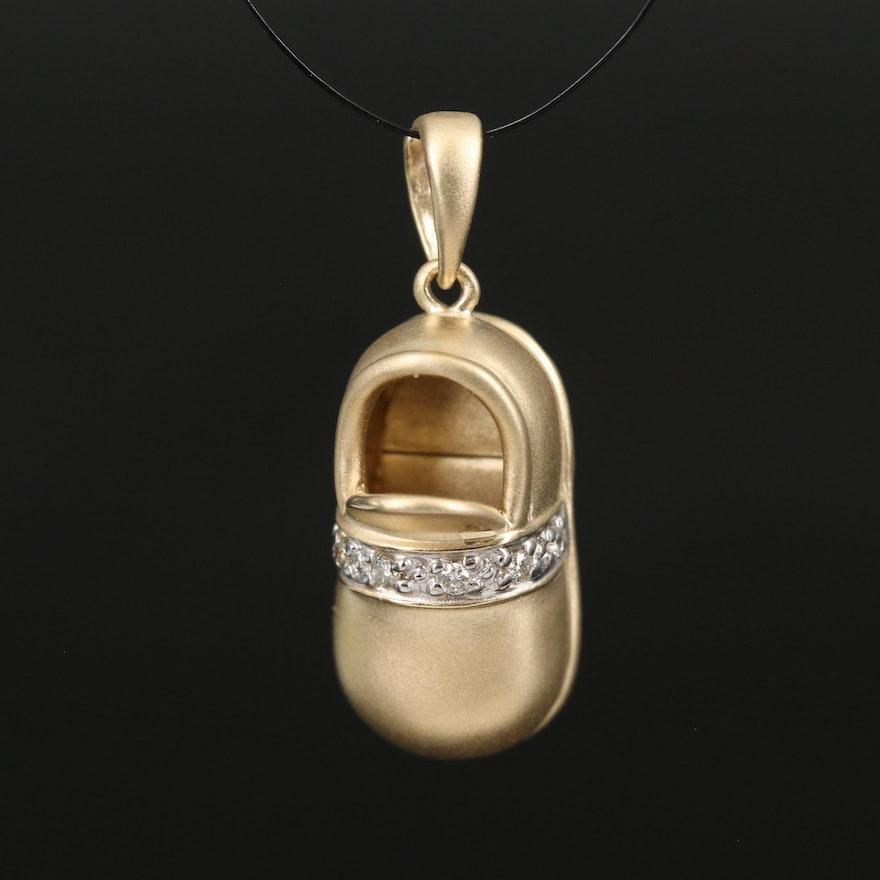 14K Diamond Shoe Charm Pendant