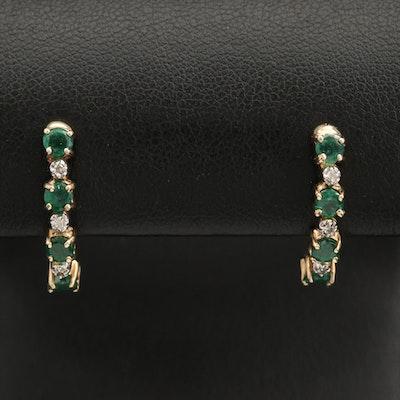 10K Diamond and Emerald J Hoop Earrings