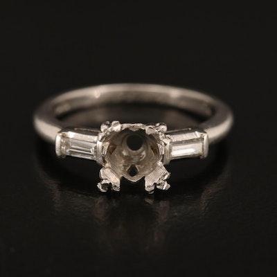 Platinum Semi-Mount Ring with Diamond Shoulders