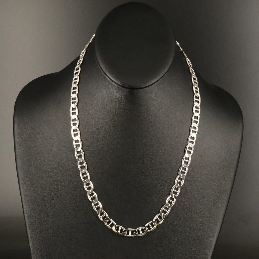Italian Sterling Silver Mariner Chain Necklace