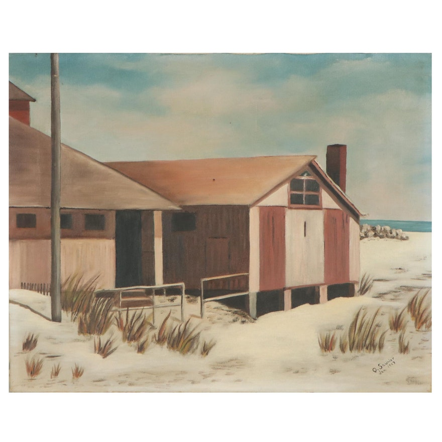 Oil Painting of Beach House, 1967