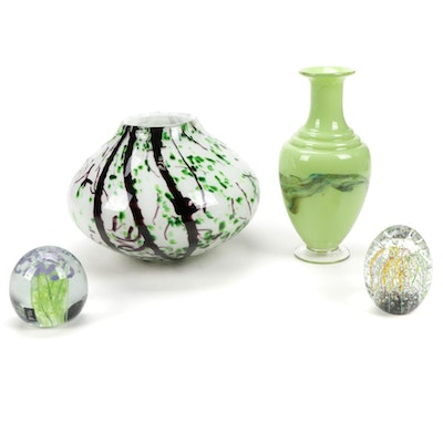 Kerry Art Glass Paperweight with Other Art Glass Vases and Paperweight