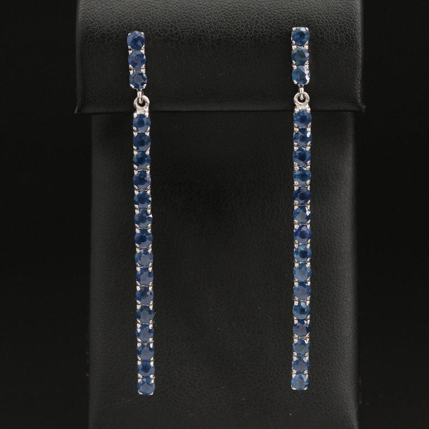 Sterling Silver Sapphire Drop Earrings