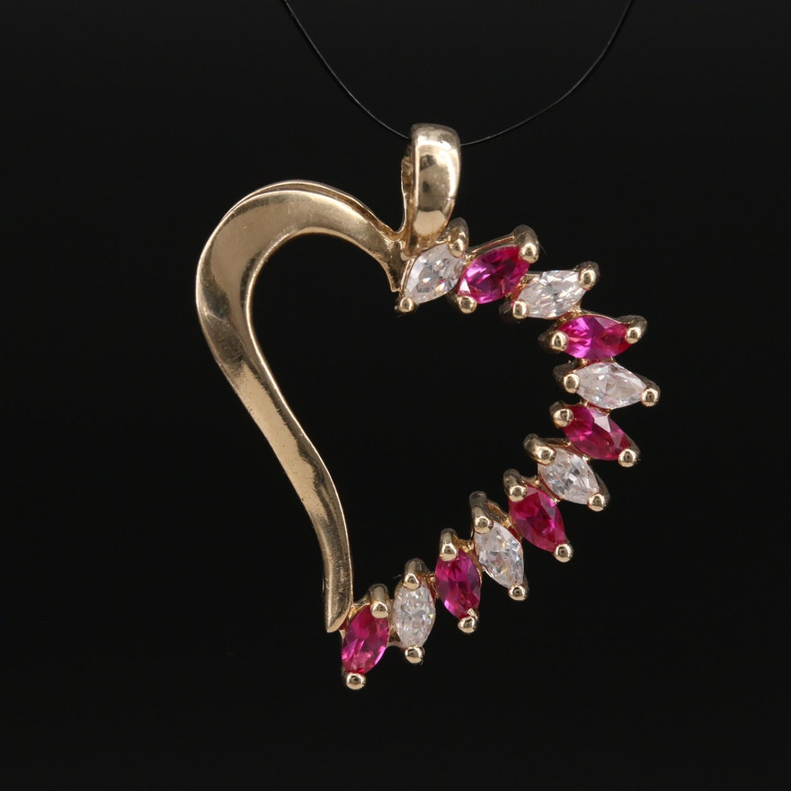 10K Cubic Zirconia and Ruby Heart Pendant