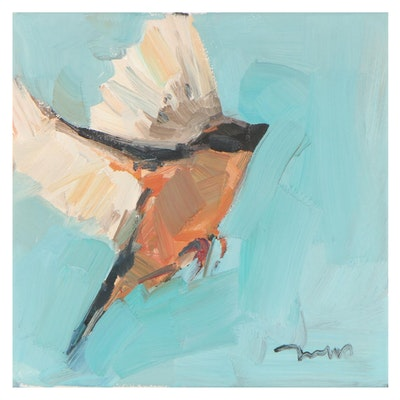 "Jose Trujillo Oil Painting ""American Robin,"" 2021"