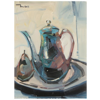 "Jose Trujillo Oil Painting ""Simplistic Still Life,"" 2021"