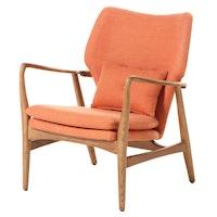 "Blue Ocean Traders ""Helsinki"" Modernist Style Upholstered Ash Lounge Chair"