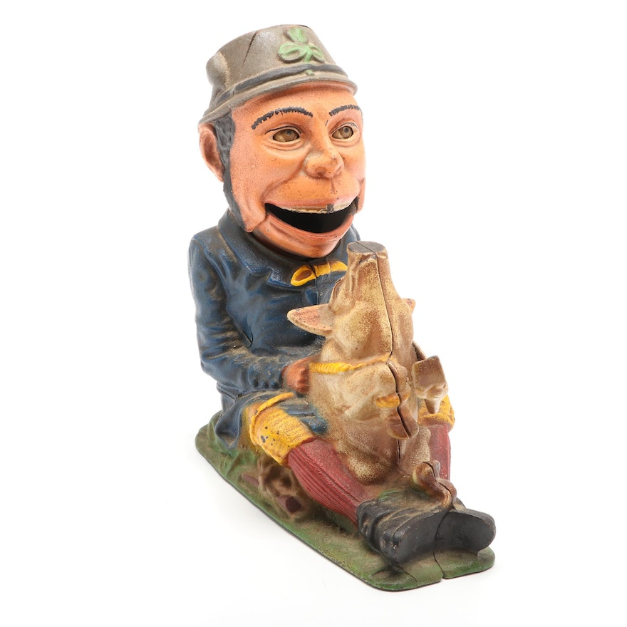 """The Book of Knowledge """"Paddy and The Pig"""" Cast Iron Mechanical Bank"""