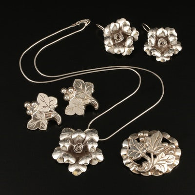 Vintage Sterling Silver Foliate Jewelry Including Earrings, Necklace and Brooch