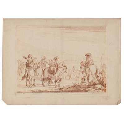Engraving After Marcus Pelli of Mounted Figures