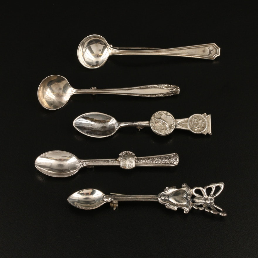 Sterling Silver Spoon Pins Featuring Gorham