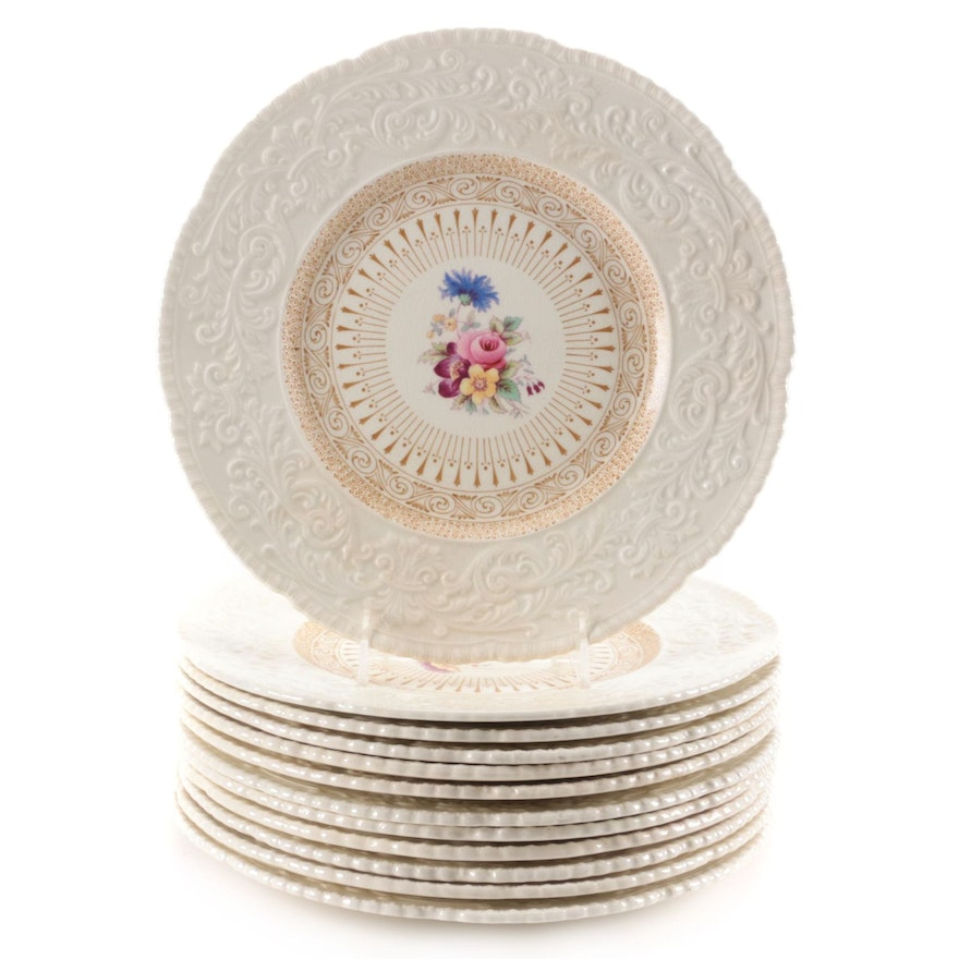 Royal Cauldon Embossed Rim Dinner Plates, Early to Mid 20th Century