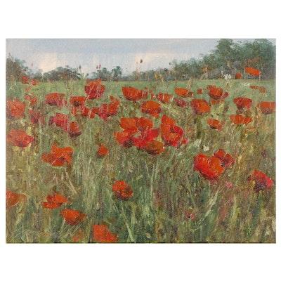 """Garncarek Aleksander Oil Painting """"Poppies in the Field"""""""