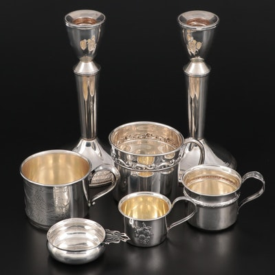 American Sterling Silver Candlesticks and Cups and Porringer