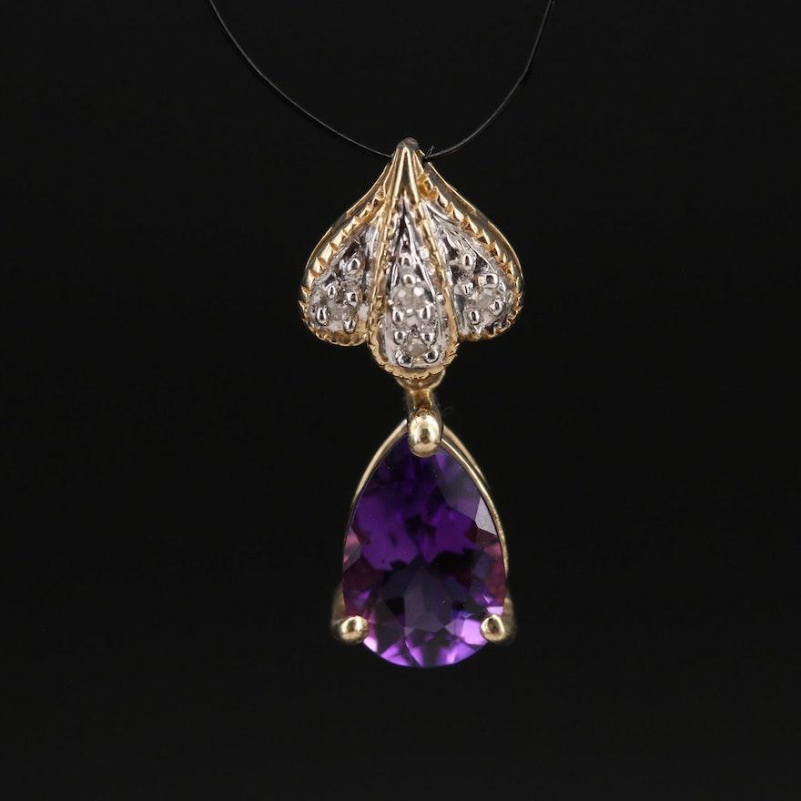 10K Amethyst and Diamond Drop Pendant