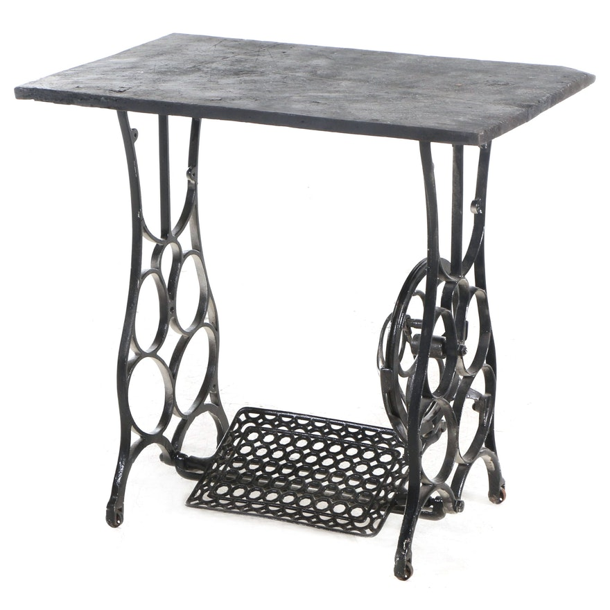 Repurposed Iron Treadle Sewing Machine Side Table