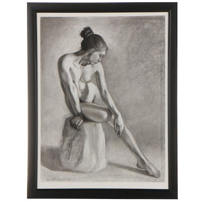 "Samantha Amoroso Figurative Charcoal Drawing ""Soft Shadows,"" 2021"