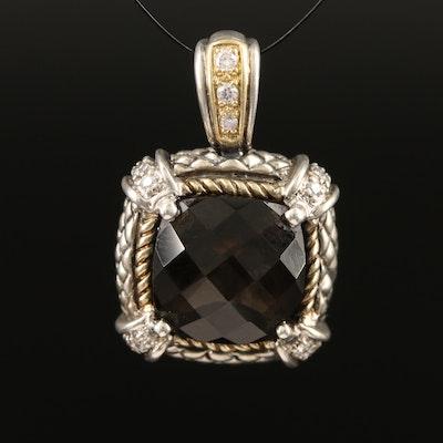 Andrea Candela Sterling Smoky Quartz and Diamond Enhancer Pendant