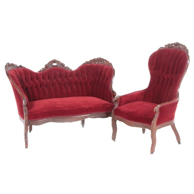 Victorian Carved Velvet Upholstered Walnut Easy Armchair and Matching Sofa