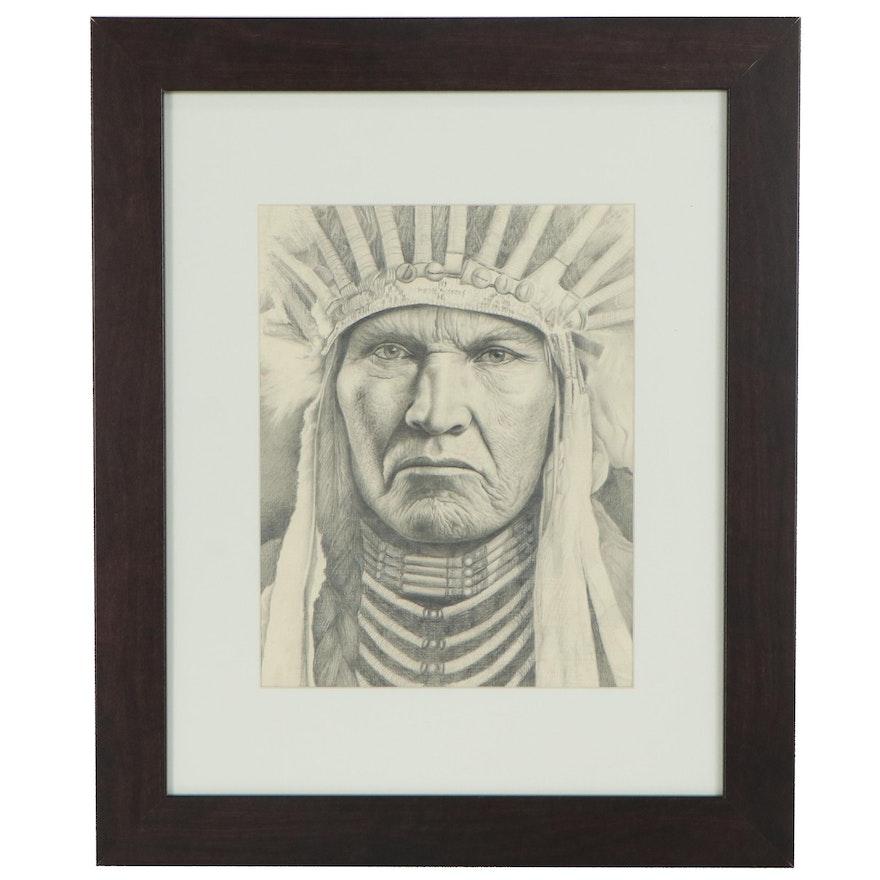 "Graphite Drawing Attributed to Igor Volosnukov ""Grand Chief (Calm Bull)"""