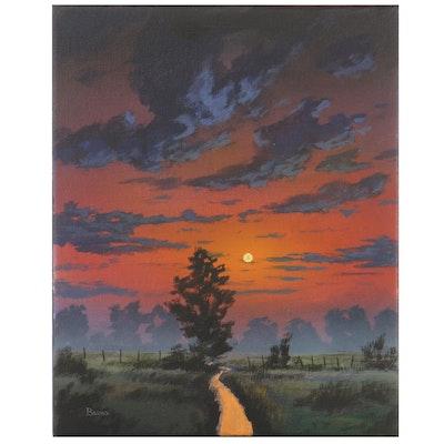 "Douglas ""Bumo"" Johnpeer Landscape Oil Painting ""Sunrise Mist"""