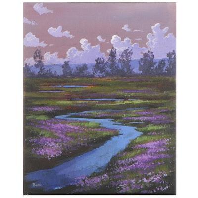 "Douglas ""Bumo"" Johnpeer Oil Painting ""Blue-Eyed Grass"""