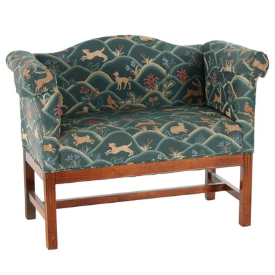 Chippendale Style Mahogany and Embroidered Upholstery Settee