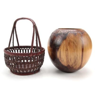 Phillip Moulthrop Tulipwood Turned Bowl with Handbraided Basket